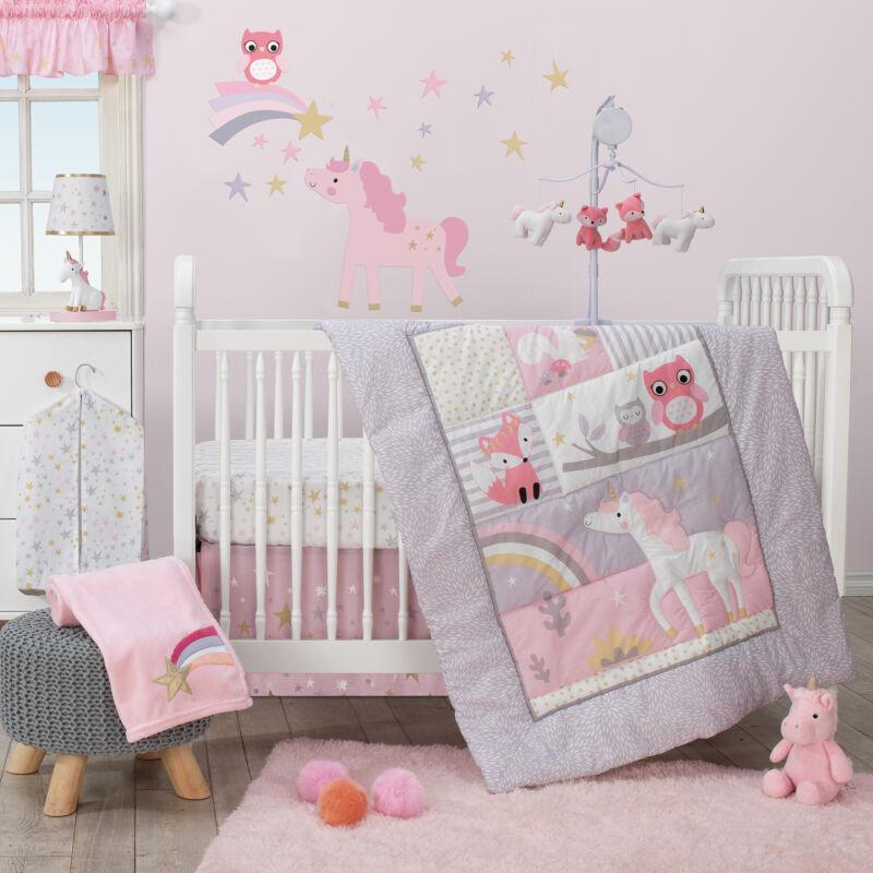 Bedtime Originals Rainbow Unicorn 3-Piece Crib Bedding Set - Pink, Purple