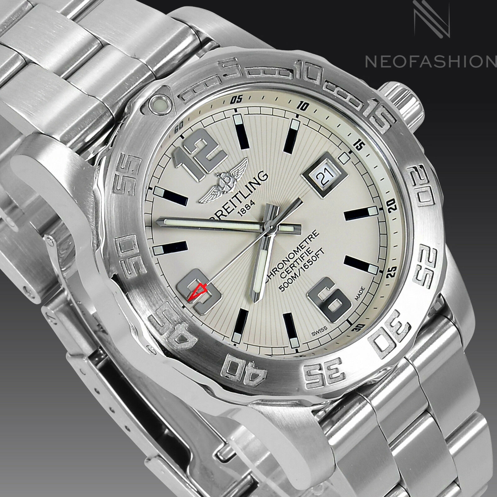 $2195.00 - BREITLING COLT QUARTZ SS 44MM NEW MODEL BEAUTIFUL WHITE DIAL MENS WATCH A74387