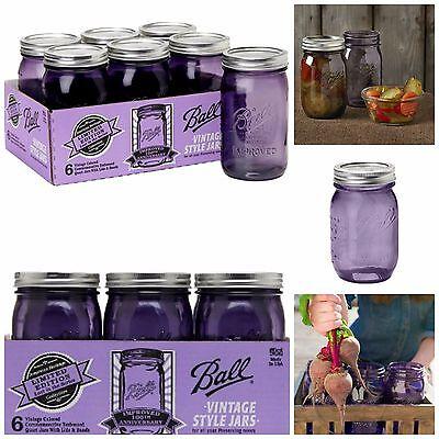 Ball Jars Canning Jars Vintage Mason Ball Heritage Jars Glass Lids Bands 6 Pack