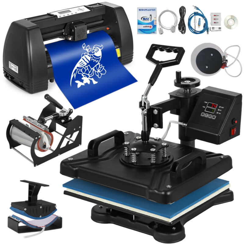 "5in1 Heat Press 15""x12"" + 14"" Vinyl Cutter Plotter Business Printer Sublimation"