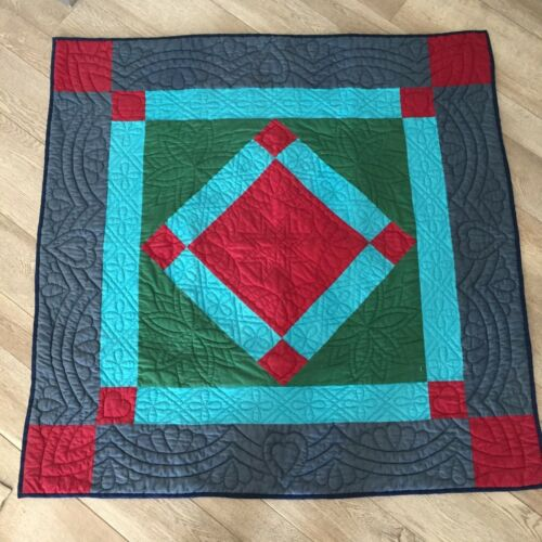 Vintage Amish Quilted Wall Hanging Handmade Quilt Blue Burgundy Squares 44 x 45