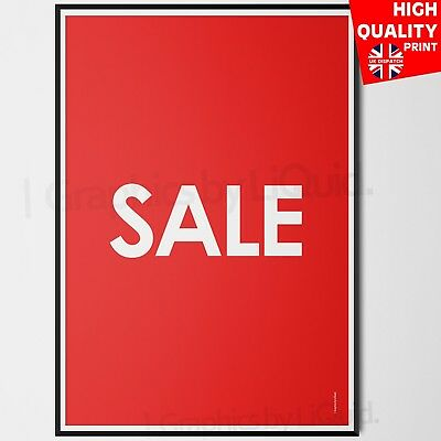 Sale Poster Red/White Poster | A4 A3 A2 A1 | Shop Window Sign Decal