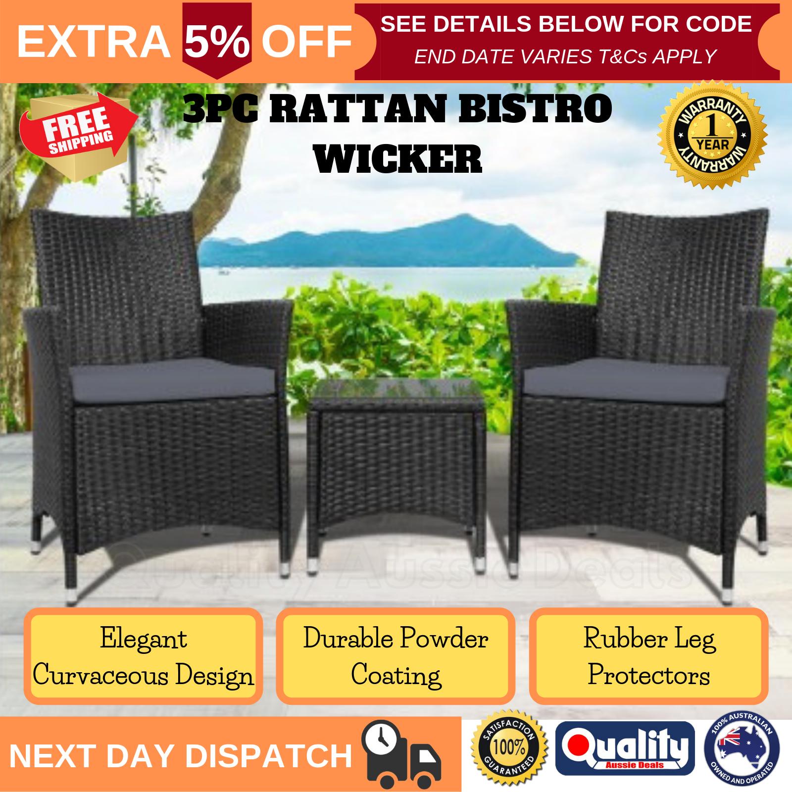 Garden Furniture - Outdoor Furniture Wicker Garden Rattan Set Lounge Table Sofa UV Weatherproof NEW