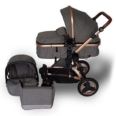 3in1 Kinderwagen Kombi Komplettset Babywanne=Buggy Babyschale Autositz Z600 Neu