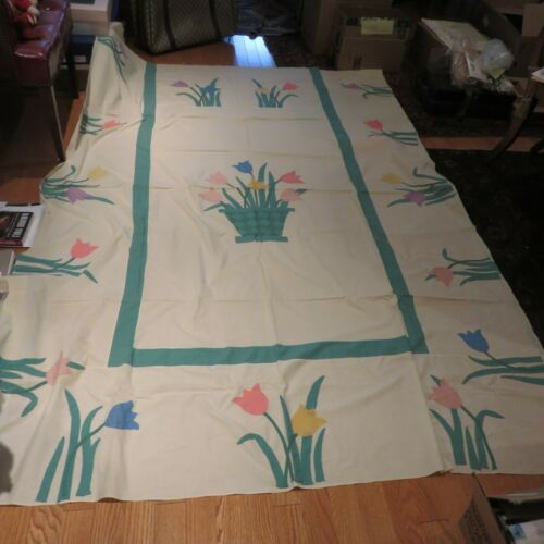 "Vintage Folk Art Applique Quilt Tops (2) - Matching Pair - 94"" x 62"" - RARE PAIR"