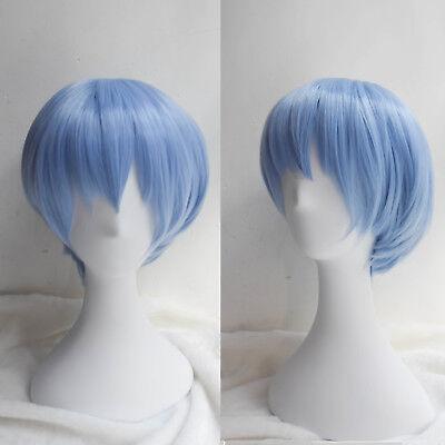 EVA Neon Genesis Evangelion Rei Ayanami Short Light Blue Cosplay Wig Party Wigs](Neon Blue Wig)