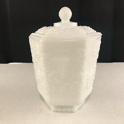 Anchor Hocking Fire King Ware Grape Vine Milk Glass Vase/Planter With Lid Anchor Hocking Fire King Milk