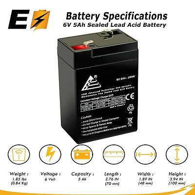 ExpertBattery 6V 5Ah 6 Volt 5 Amp/Hr Rechargeable Sealed Lead Acid Battery Rechargeable Lead Acid Battery