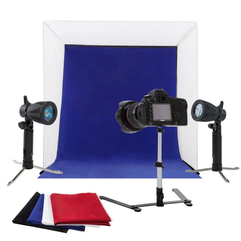 "24"" Photo Studio Photography Light Tent Kit Backdrop Cube Lighting In A Box"