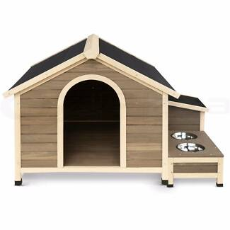 Pet Dog Extra Large Timber Kennel House w/Bowls & Storage Box Spearwood Cockburn Area Preview