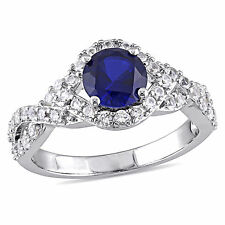 Amour Sterling Silver Created White and Blue Sapphire Crossover Engagement Ring