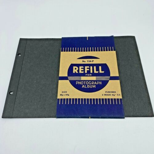 Vintage Photo Album Refill 9-Count 726-P 2-Hole Black Pages 8-3/8 x 12-1/8 OF