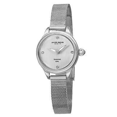 New Women's Akribos XXIV AK873SS Diamond Indexes Silver-tone Mesh Bracelet Watch