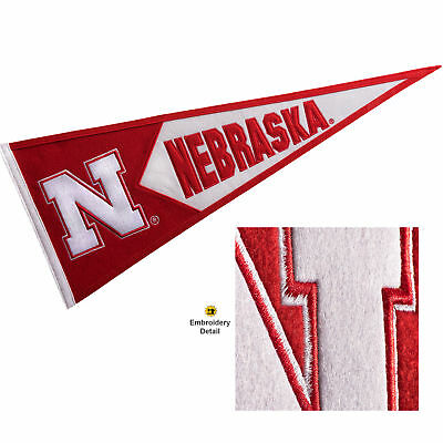 Nebraska Huskers Embroidered and Wool College Pennant