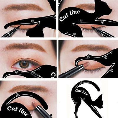 1 Pair Eyeliner Stencil Models Makeup Beauty Cat Eye Line Template Shaper -