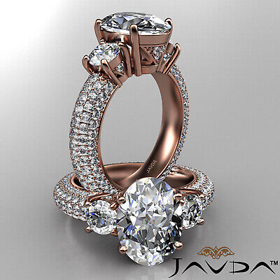 Women's 3 Stone Pave Set Oval Cut Diamond Engagement Ring GIA F Color VS2 3.8Ct 8