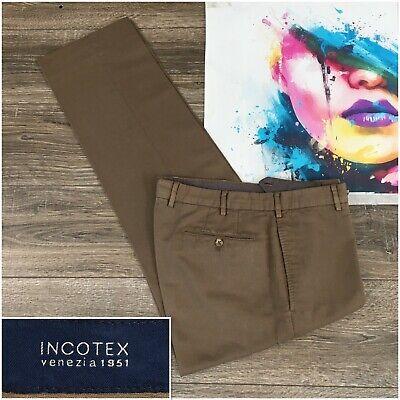 """Incotex Slowear Chino Pants Linen Cotton """"chino lino"""" Flat Front Mens Size 34"""