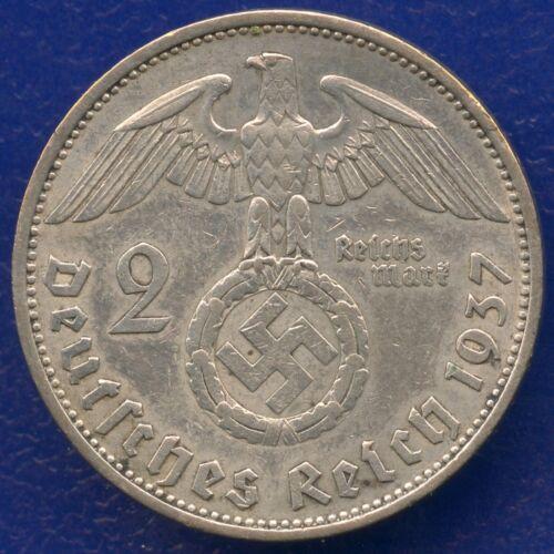 SWASTIKA 2 Reichsmark silver ww2 .The real coin,no fakes nazi !!!