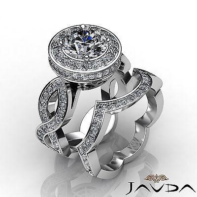 Cross Shank Circa Halo Round Diamond Engagement Pave Set Ring GIA I SI1 2.8 Ct 3