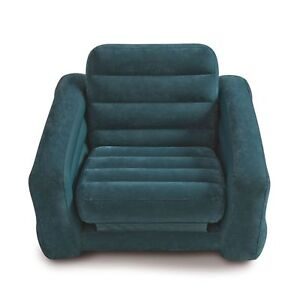 Intex Pull Out Chair Inflatable Sofa Dorm Twin Bed Sleeper Mattress Navy