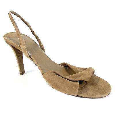 Stiletto Heel Slingback Pumps - RALPH LAUREN Authentic Suede Slingback Stiletto High Heel Sandals Pumps 10 B