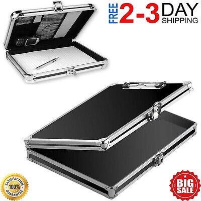 Locking Storage Aluminum Clipboard Hard Black Solid Briefcase Paper Case - Black