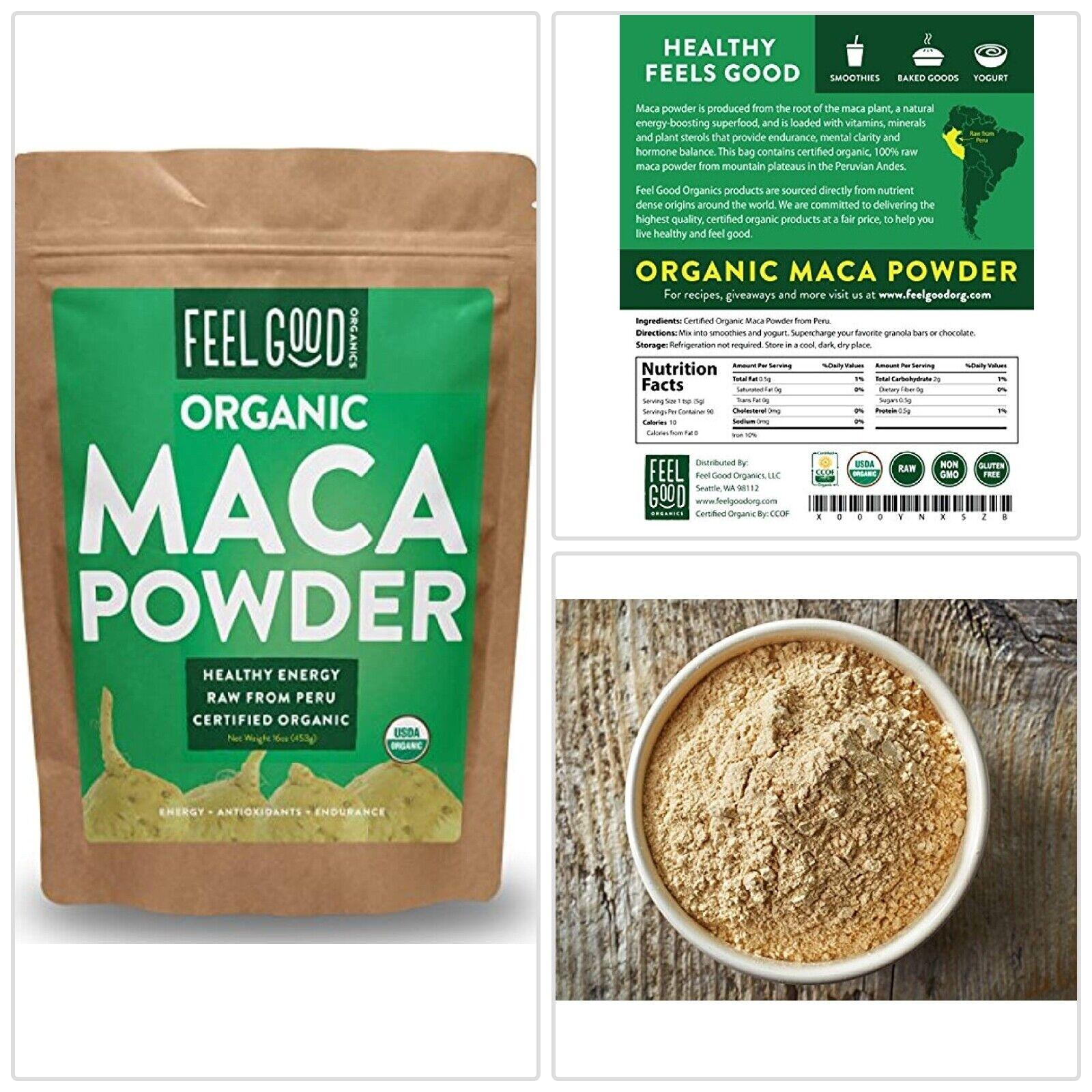 USDA Organic MACA ROOT Powder Peruvian Raw From Peru 16oz by