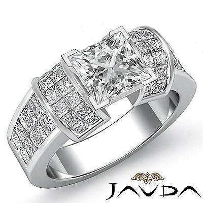 4 Prong Invisible Setting Princess Cut Diamond Engagement Ring GIA I VS2 2.96Ct
