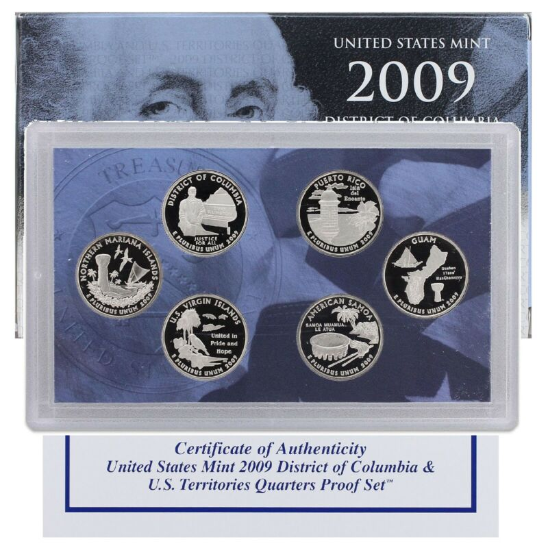 2009 S Proof Territories Quarter Set Gem DCam Original Box & COA 6 Coins CN-Clad