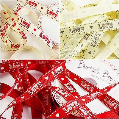 Bertie's Bows Love Vintage Font 16mm Grosgrain Ribbon - 1m & 2m - Multi Discount](Discount Ribbon)