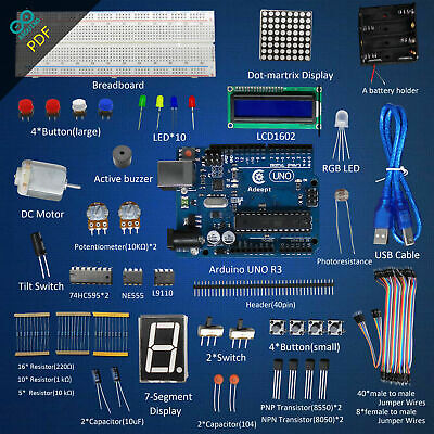 New/Super Starter Kit for Arduino UNO R3 with Guidebook LCD1602 Breadboad