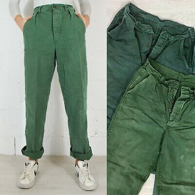Vintage Mens 60s Swedish Utility Workwear Chore Pants Trousers Green 28 29 30 31](60s Mens Clothes)