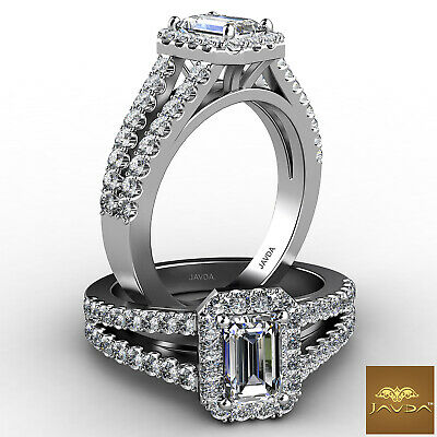 Halo Split Shank U Cut Pave Setting Emerald Diamond Engagement GIA F VVS2 1.46Ct