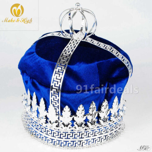 "9"" King Blue Velvet Imperial Medieval Men"