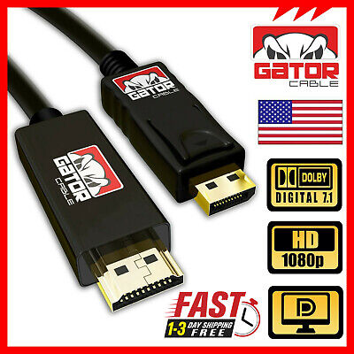 Display Port to HDMI Cable Cord Adapter Audio Video PC HD 1080P 60Hz 18Gbps 6FT for sale  Shipping to India