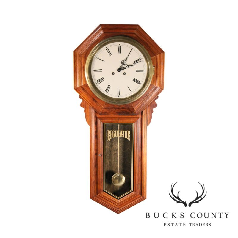 """Regulator"" School House Pendulum Hanging Wall Clock Wood & Brass"