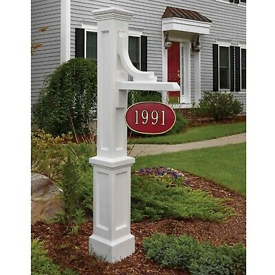 White Address Sign Post Stand UV Outdoor House Street Number Holder Lawn Home - Lawn Sign