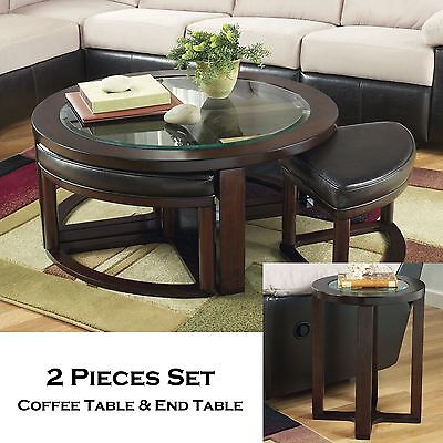 (FISHER-2pc Round Cocktail Coffee W/ Stools End Occasional Tables Set Living Room)