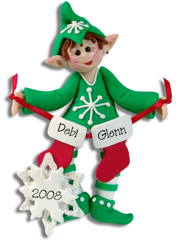 PERSONALIZED ELF FAMILY / COUPLES Christmas Ornament Polymer Clay by Deb & Co.