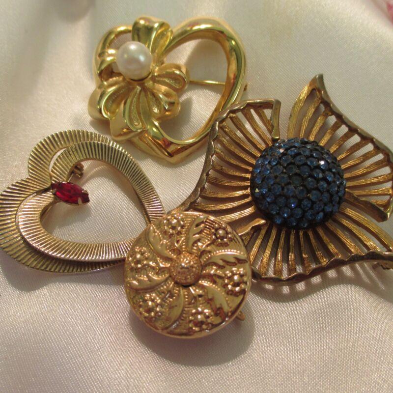 Vintage Art Deco Brass Gold-tone Rhinestone Botique FauxPearl Brooch Jewelry Lot