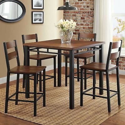 Mercer 5 Piece Counter Height Dining Set Dinner Table Chairs Vintage Oak Dinette 5 Piece Counter Height Table