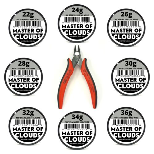 Wire Cutters w/ Mixed 550 Feet of SS 316L Wire 22,24,26,28,30,32,34,36 Gauge