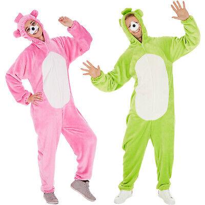 Bärenoverall Kostüm Frauen Männer Karneval Fasching Halloween Pink Grün -