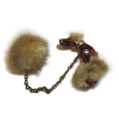 Vintage Red Velvet and Fur Poodle Sweater Clip