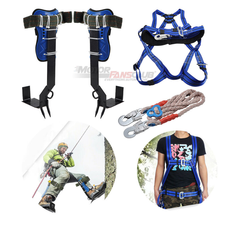Tree Climbing Spike Set, Safety Straps Belt w/Gear, Carabiner Lanyard,Leg Buckle