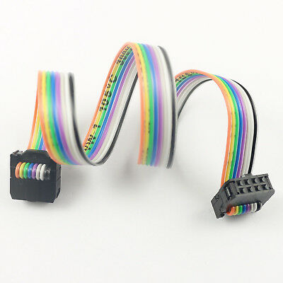 2pcs 2.54mm Pitch 2x4 Pin 8 Pin 8 Wire Idc Rainbow Ribbon Flat Cable Length 30cm