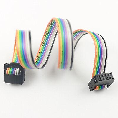 2pcs 2.54mm Pitch 2x4 Pin 8 Pin 8 Wire Idc Rainbow Ribbon Flat Cable Length 30cm