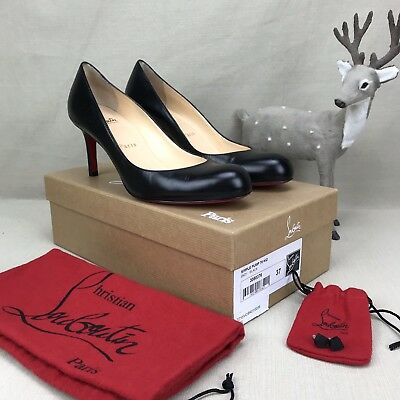 CHRISTIAN LOUBOUTIN Simple Pump Heels Shoes 70 Black Leather Calf 37 Red Bottoms