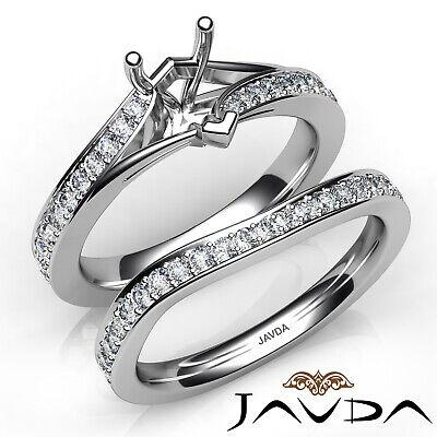 0.90Ct. Pave Side stone Diamond Engagement Ring Heart Semi Mount Bridal Set  Ring Settings Side Stone