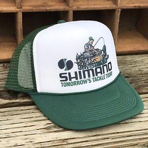 53c25fdfd6700 Shimano Fishing Derby Style Vintage 80 s Trucker Hat Snapback Salmon Trout  Bass